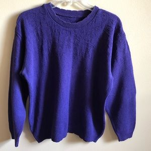 Knit Long Sleeve Scallop Crew Neck Sweater Top